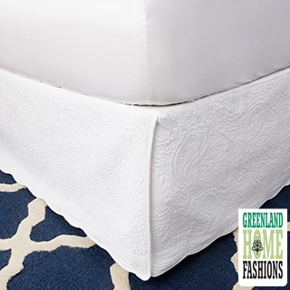 Greenland Home Fashions White Paisley Quilted 18-inch Drop Bedskirt
