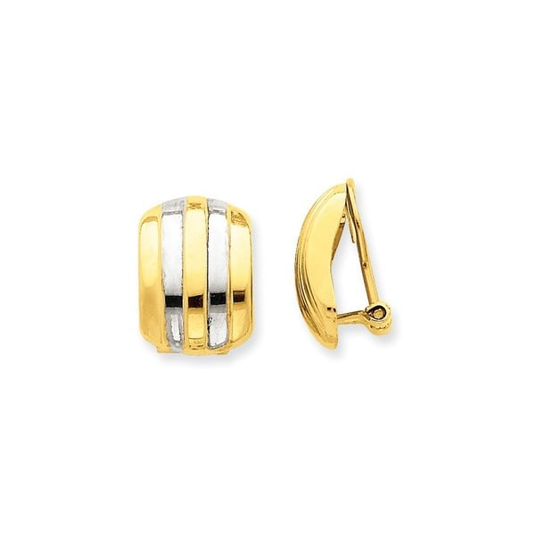 14 Karat & Rhodium Ribbed Non-pierced Omega Back Earrings 27174813