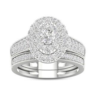 De Couer IGI Certified 1ct TDW Diamond Oval Frame Bridal Set