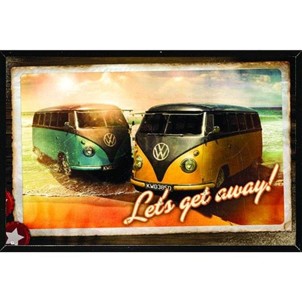 VW 'Lets Get Away' Black Thin Framed Poster 27182138