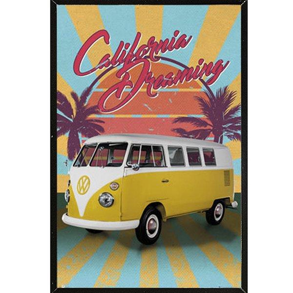 VW California Dreaming Retro' Black Thin Framed Poster 27182153