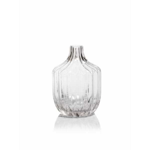 """Astrud"" 9"" Tall Glass Short Neck Vase, Ribbed Pattern 27182222"