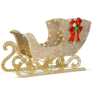 "National Tree Company 38"" Christmas Decorative Crystal Splendor Santa's Sleigh with White LED Lights"