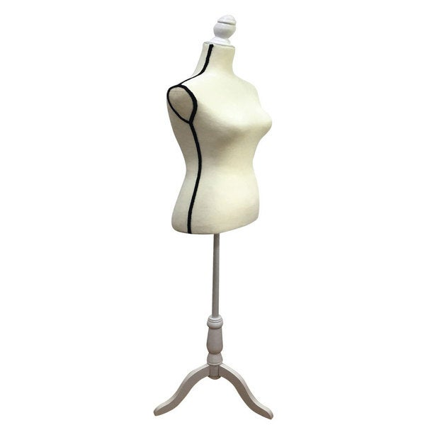 Stand Half-Length Fiberglass & Brushed Fabric Coating Lady Model for Clothing Display White & Black Edge 27209509
