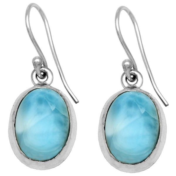 Sterling Silver Smooth Oval Larimar Drop Earring 27235468