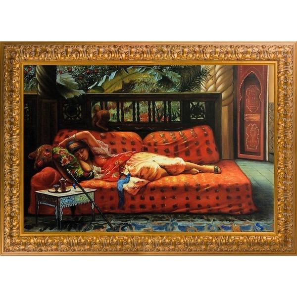 Frederick Arthur Bridgman 'The Siesta' Hand Painted Framed Oil Reproduction on Canvas 27238569
