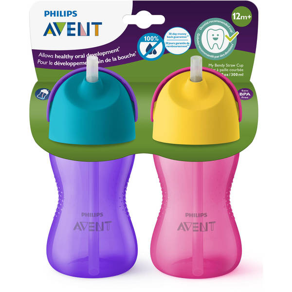Philips Avent Pink/Purple 10-ounce My Bendy Straw Cup (Pack of 2) 27238857