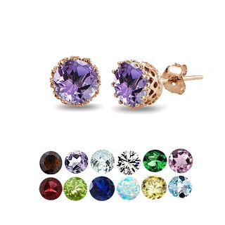 Glitzy Rocks 18k Rose Gold over Silver Round-cut Birthstone Crown Stud Earrings