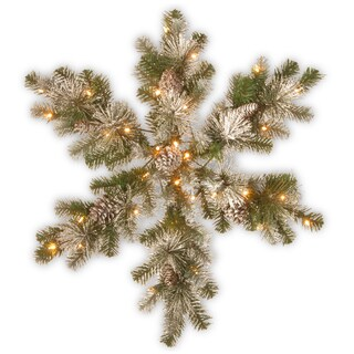 "National Tree Company 32"" Snow Capped Mountain Pine Snowflake with Battery Operated LED Lights"
