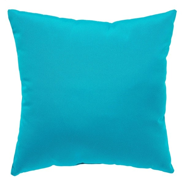 Tahiti Indoor/ Outdoor Solid Aqua Throw Pillow 27247426