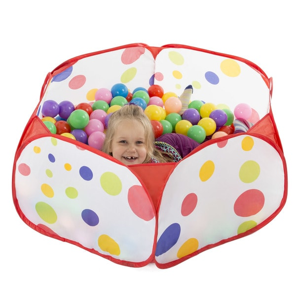 Hey! Play! Kids Pop-up Six-sided Ball Pit Tent with 200 Colorful and Soft Crush-proof Non-toxic Plastic Balls 27252958