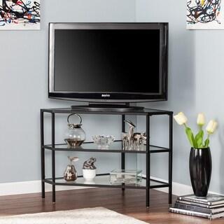 Norman Metal/Glass Corner TV Stand - Black