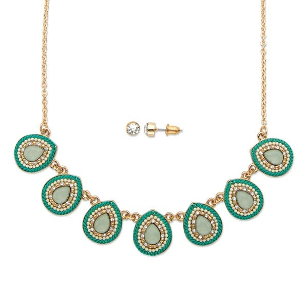 """Pear Drop Simulated Aquamarine And Crystal 2-Piece Necklace And Earrings Set 16""""-19"""" 27268653"""