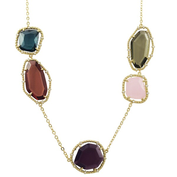 Luxiro Gold Finish Multi-color Sliced Glass and Cubic Zirconia Necklace - Purple 27271073