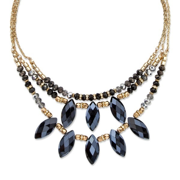 Black and Grey Marquise-Cut Aurora Borealis Beaded Crystal Triple-Strand Gold Tone Statement Necklac Bold Fashion 27271594