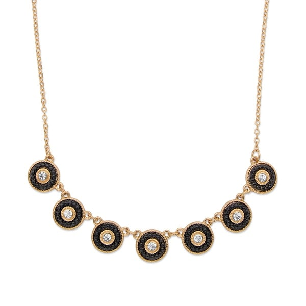 "Round Crystal and Black Beaded 14k Gold-Plated Halo Collar Rolo-Link Necklace 16""-19"" Bold Fashion 27271623"