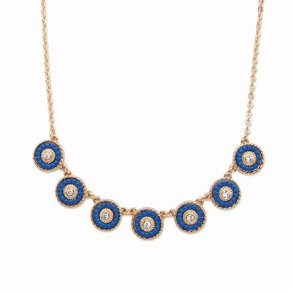 "Round Crystal and Blue Beaded 14k Gold-Plated Halo Collar Rolo-Link Necklace 16""-19"" Bold Fashion 27271624"