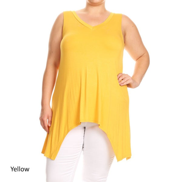 Women's Plus Size Sleeveless Solid Jersey Knit Tank Top 27280454