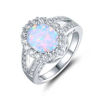 Gold Plated Fire Opal & Cubic Zirconia Flower Ring