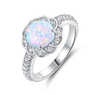 Gold Plated White Fire Opal & Cubic Zirconia Flower Ring