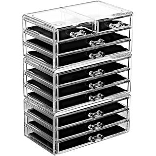 Acrylic Jewelry and Makeup Organizer Cosmetic Storage Drawer 3-piece Set - Clear
