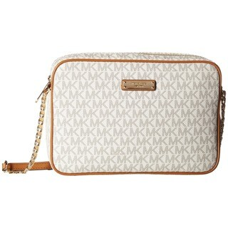 Michael Kors Signature Jet Set East West Vanilla PVC Large Crossbody Handbag