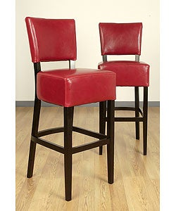 Wasatch Burnt Red Leather Barstools (Set of 2)
