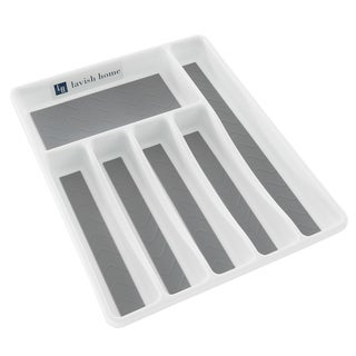 Lavish Home Silverware Drawer Organizer with Sections and Nonslip Tray