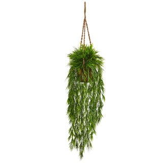 Nearly Natural Silk Artificial Mini Bamboo in Hanging Basket