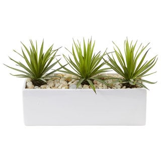 Nearly Natural Mini Agave in Rectangular Ceramic