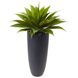 Nearly Natural Agave in Grey Cylinder Planter