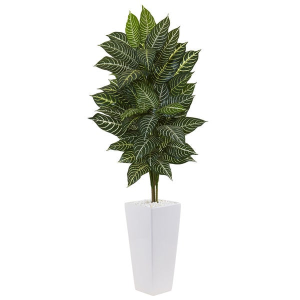 Nearly Natural 4-foot Zebra Plant in White Tower Planter 27559529