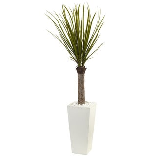 Nearly Natural 4-foot Yucca Tree in White Tower Planter