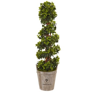 Nearly Natural Silk 4-foot English Artificial Indoor/Outdoor Ivy Tree in Farmhouse Planter