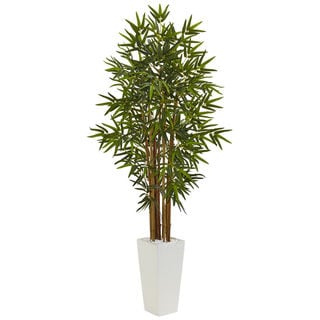 Nearly Natural Green 5-foot Bamboo Tree in White Tower Planter