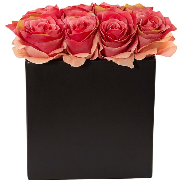 Nearly Natural Red Roses Arrangement in Black Vase 27559705