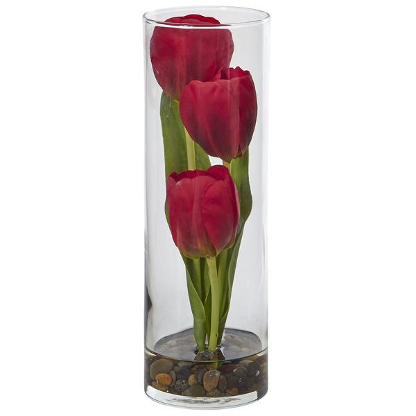 Tulips in Cylinder Glass 27559717