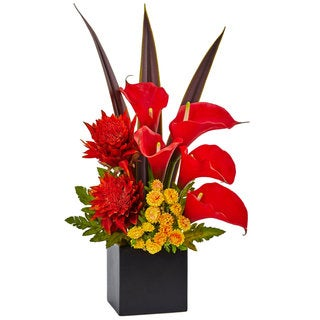 Nearly Natural Tropical and Calla Mixed Arrangement
