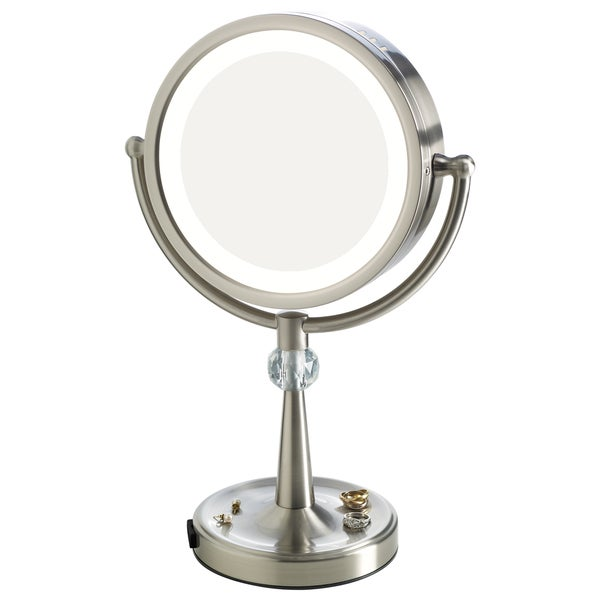 Elizabeth Arden 1x/10X Magnification Lighted Tall Makeup Vanity Mirror with Recessed Jewelry Tray 27561214