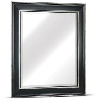 American Art Decor Camden Medium Rectangular Black Antiqued White Accents Framed Beveled Wall Vanity Mirror - A/N