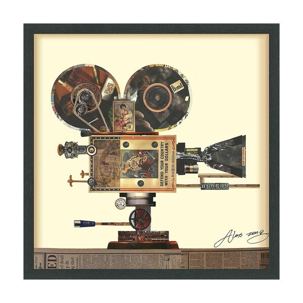 Empire Art 'Antique Film Projector' Hand Made Signed Art Collage by EAD Artists Co-op under Tempered Glass in Black Frame 27562006