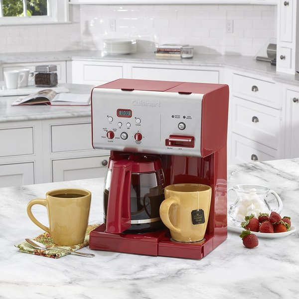 Cuisinart CHW-12R 12-Cup Programmable Coffeemaker Plus Hot Water System - Brushed Metal/ Red (Refurbished) 27562470