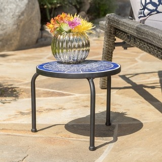 """Slate Outdoor Round Tile Side Table by Christopher Knight Home- 10""""H x 12""""W x 13""""D"""