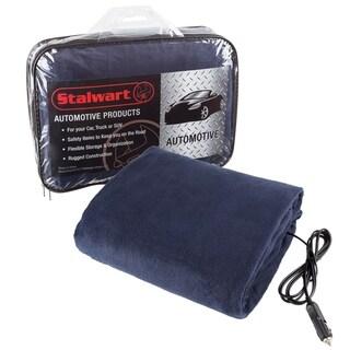Electric Car Blanket- Heated 12 Volt Fleece Travel Throw for Car by Stalwart-BLUE