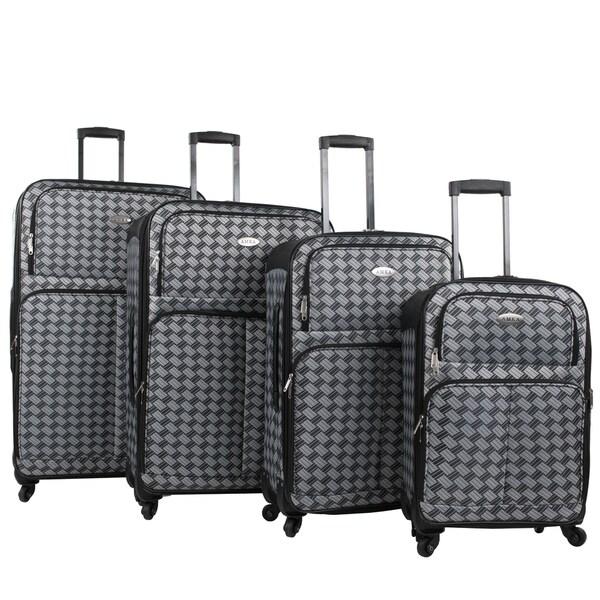 AMKA Braid 4-piece Expandable Spinner Luggage Set 27597235