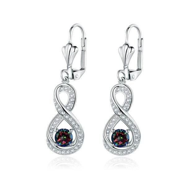 Gold Plated Diamond Accent & Mystic Topaz Infinity Drop Earrings 27602336