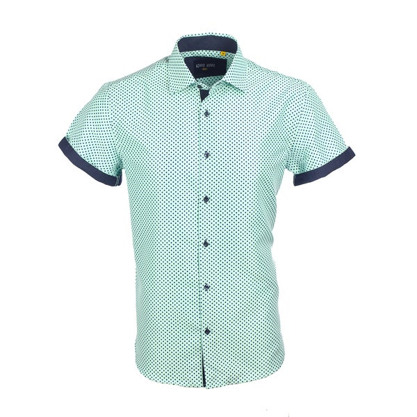 Azaro Uomo Men's Short Sleeved Cuff Polka Dots Mint 27630627