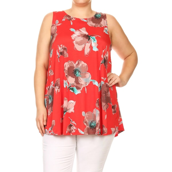 Women's Plus Size Sleeveless Floral Pattern Top 27633447