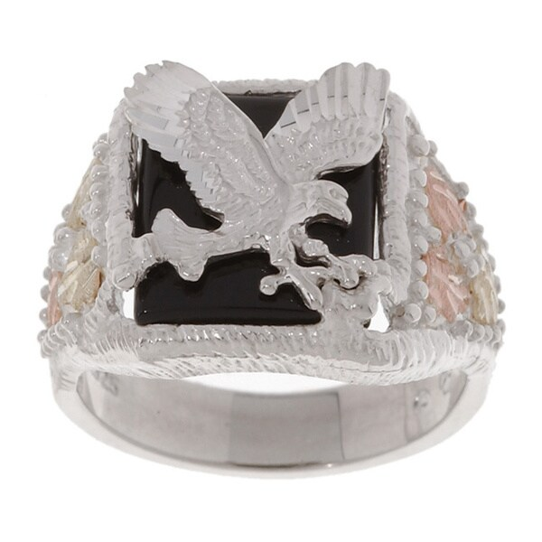 Black Hills Gold and Sterling Silver Mens Eagle Ring