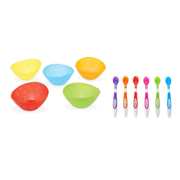 Munchkin 5 Pack Multi Bowls with 6 Pack Infant Spoon Set 27673899